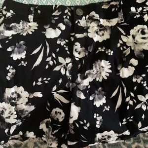 Cute black with white floral pattern shorts.